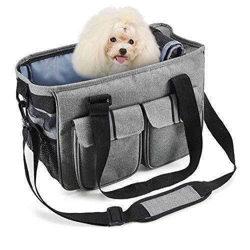 SISVIV Trasportino per Cani Gatti Piccola Taglia Borsa a Tracolla per Trasporto Animali Domestici 7kg Grigio