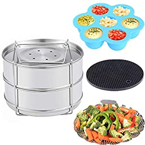 Zubehör für Schnellkochtöpfe - Stapelbare Edelstahl Dampfgarer Einsatzpfannen, Gemüse Garbehälter, Gekochte Eier Silikonformen, Silikon Topfhalter, 4 Stk./Set für 5, 6, 8 QT Schnellkochtopf