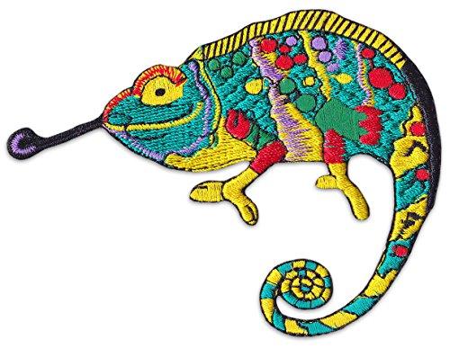 Psychedelisches Chameleon Aufnäher Aufbügler Patch Kunst Trance Goa Techno Party Festival (Klein )