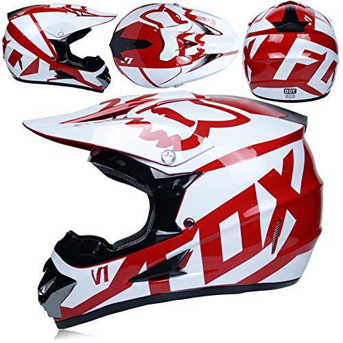 MJW Adulto Motocross Casco/Gafas/Máscara/Guantes Moto Casco,C,M
