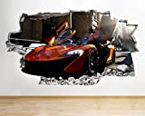 C061 Cool Car Sports Boys Bedroom Smashed Wall Decal 3D Art Stickers Vinyl RoomKids Bedroom Baby Nursery Cool Livingroom Hall Boys Girls