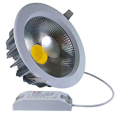 1163 45 W LED Einbaustrahler 230 V warmes Licht 3000 K 120 Grad Spot Reflector Rund Aussenmass Durchmesser 222 mm Einbaumasse Durchmesser 205 mm IP20 Gehäuse weiß VT-2645