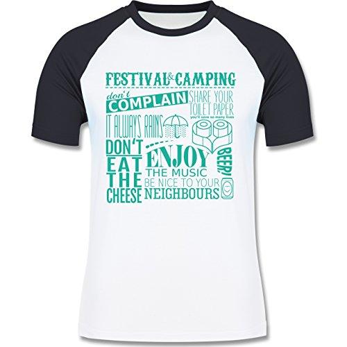 Festival - Festival camping lettering - zweifarbiges Baseballshirt für Männer Weiß/Navy Blau