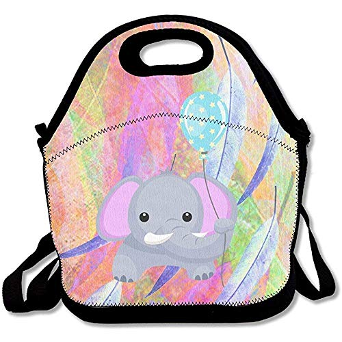da8e2ec90d28 Elephant with Balloon Lunch Backpack Large & Thick Neoprene Lunch Bags  Insulated Lunch Tote Bags Cooler Warm Warm Pouch with Shoulder Strap for  Women ...