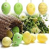 Valery Madelyn 12 Stück ca. 6 cm Sanfter Frühling Ostern Deko Ostereier deko Ostern eier Dekoration Hühnerei mit Gelb und Grün Eier mit Malerei