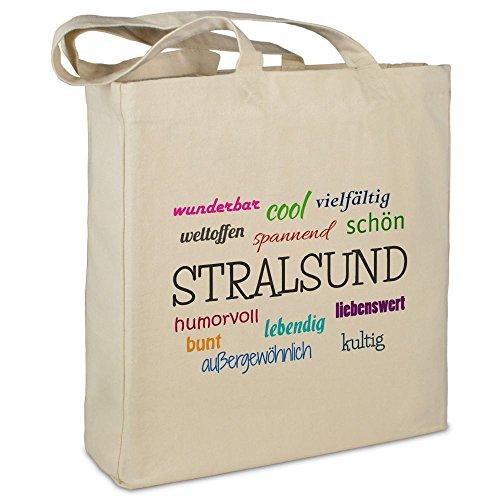 """Stofftasche mit Stadt/Ort """"Stralsund"""" - Motiv Positive Eigenschaften - Farbe beige - Stoffbeutel, Jutebeutel, Einkaufstasche, Beutel"""