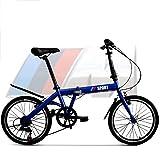 Kinder Fahrrad,6 Variable Geschwindigkeit Falten Mountainbike Doppelbremse Doppelter faltung 20 Zoll Über 10 Jahre alt-Blau 60.2inch