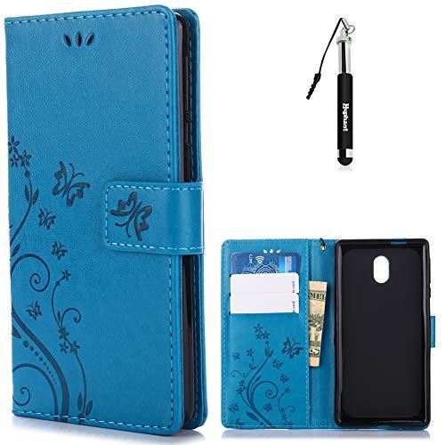 Huphant Nokia 3 Hülle, Nokia 3 Leder Tasche Blau Schmetterling Solid Color Muster Flip Schutzhülle Wallet Case Hülle für Nokia 3 Handytasche Stand Kartenfächer Magnet Etui SchaleWallet Case -Blau