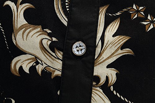 SSLR Chemise Casual Homme Manche Longue Taille Normale Imprimée Noir (268-26)