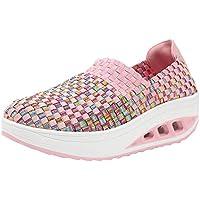 Zapatos individuales slip on para mujer,Sonnena zapatos Moda de mujer Zapatos Tejidos Shake Zapatos de cuña de ocio Correr zapatos casuales