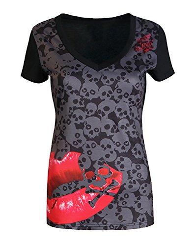 Damen T Shirt Blouse For Women Young Fashion Blumendrucken Totenkopf Und Rose Pattern Kurzarm Oberteile Vintage Loose V-Ausschnitt Tops Casual Tunika Blusen Sommer Große Größen (Rose Womens Vintage)