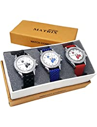 Matrix White Dial & Leather Strap Analog Watch For Women/Girls- Combo Of 3