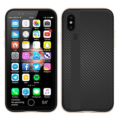 iPhone X Hülle, MOONMINI 2 in 1 Weich TPU Silikon Schale + Hard PC Dual Layer Hybrid Handy Tasche Case Slim Stoßfest Back Schutzschale Schutzhülle für iPhone X (2017) Golden Rose Gold