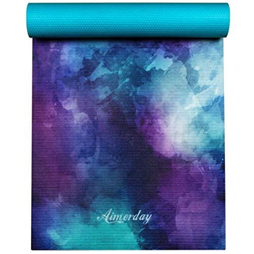 Aimerday tappetino da ginnastica stampato tappetino antiscivolo per ginnastica calda, pilates, fitness con borsa da trasporto 6mm