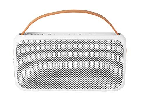 MEDION Life E65555 Bluetooth Lautsprecher, Spritzwassergeschützt, 2 x 10 Watt, 10 m Reichweite, bis 6 STD. Akkulaufzeit, USB Anschluss, Weiß