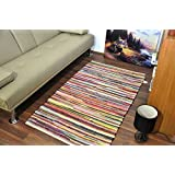"""Extra Large Medium Small AHOC Fair Trade 100% Recycled Cotton Chindi Rug Multi Coloured Stripes on White Base Handmade Multicoloured Cotton Chindi Floor Rug, Multi-Colour (70x120 cm (2'3""""x4'))"""