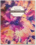 DÉKOKIND Vokabelheft   DIN A4, 84 Seiten, 2 Spalten, Register, Vintage Softcover   Dickes Vokabelbuch   Motiv: Abstrakte Blumen
