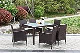 IKAYAA H0068 - Conjunto de Muebles de Ratán 7Pcs para Jardín Patio Terraza Aire Libre