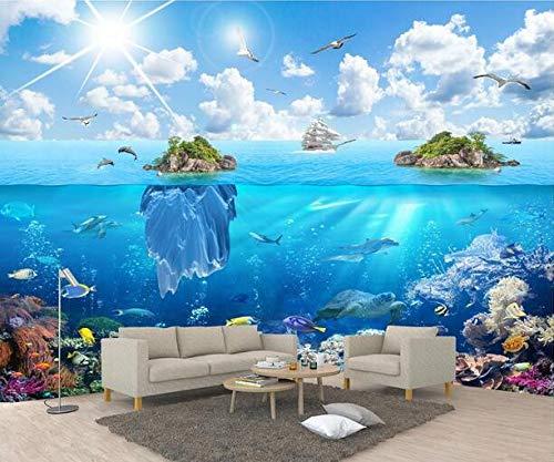Seabed World Island Landscape 3D-Meerblick, Landschaften, Portraits, Wände im Hintergrund, Veranda, Kinderzimmer-Cartoon, 200 × 175 cm