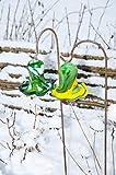 2x / Set Gartenkugeln 17 cm gross Form Tulpe, modisches Tulpendesign handgefertigt mit Bogenstab 125 cm, grün-gelb und grün-weiß-schwarz Gartenkugel, Gartendeko FROSTSICHER, lichtbeständig und WINTER
