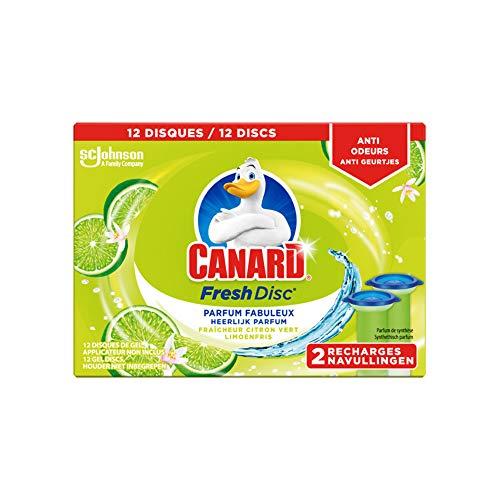 Canard WC Fresh Disc Recharges - Nettoyant Pour Toilette Fraîcheur Citron Vert - 12 Disques Lot de 2