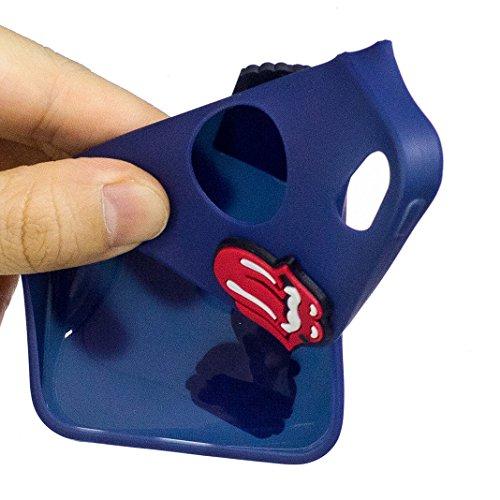Etui iPhone 5/5S/SE Housse Souple de Protection Mignonne Cute Case OuDu **Motif 3D** Etui en Silicone Coque TPU Caoutchouc Etui Flexible Lisse Housse Ultra Mince Coque Poids Léger Soft Silicone Case C Bleu foncé