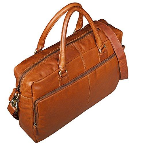 STILORD 'Aaron' Umhängetasche Leder 15,6 Zoll Laptoptasche Aktentasche Bürotasche Unitasche mit Schultergurt Business Vintage, Farbe:cognac - hellbraun cognac - glänzend