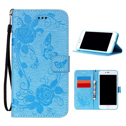iPhone 7 Plus Fiore Cover, Moon mood® Flower iPhone 7 Plus Custodia Pelle PU Protettivo Skin Flip Wallet Stand Custodie Case Cover Per iPhone 7 Plus (2016) - Blue Moon Vetro