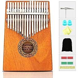 Kalimba, 17 Key Thumb Piano de alta calidad caoba Professiona Marimba Instrumento con martillo de afinación y 7 accesorios para amantes de la música principiantes