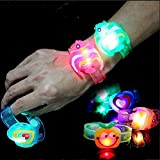 Gemini_mall® 4pcs LED Light Flashing Wristband Bracelet Adjustable Glowing Wrist Bands Party Favors Bag Fillers Gifts for Kids Toy (Random Style and Colour) (Random Colour and Pattern)
