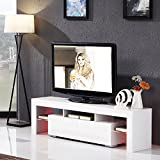 "Modern 160cm White High Gloss TV Unit Cabinet UEnjoy LED TV Stand Glass Shelves with 2 Drawers for Living Room up to 63"" TV Screens"
