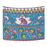 ALAZA Dibujados Príncipe Rana estilo folk Floral de flores de colores poliéster decoración...