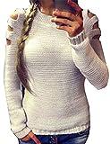 ZEARO Damen Sweater Sweatshirt Strickpullover Langarm Hohle Pulli Tops beiläufige gestrickte Strickshirt