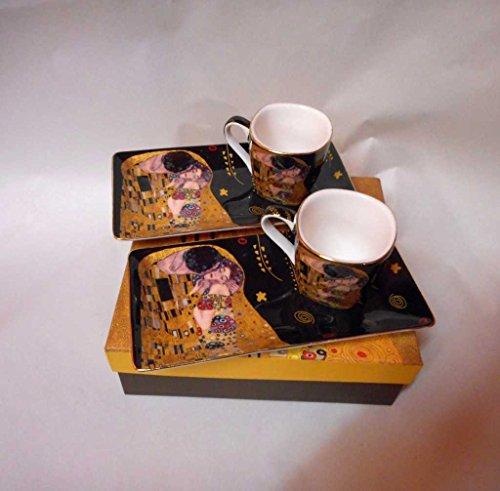 Kaffeetassenset Gustav Klimt Espressoset 'Der Kuss' schwarz inkl. Geschenkbox Espressotassen...