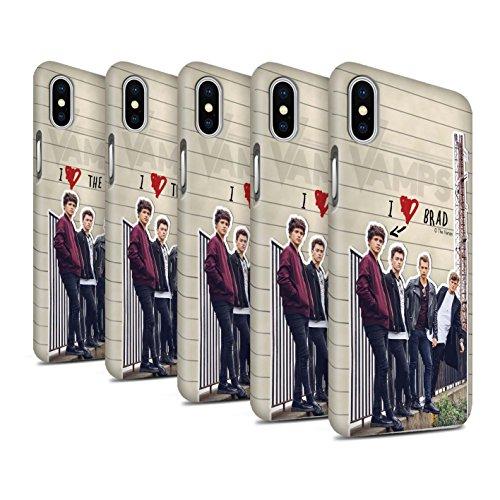 Officiel The Vamps Coque / Clipser Matte Etui pour Apple iPhone X/10 / James Design / The Vamps Journal Secret Collection Pack 5pcs