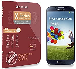 SAMAR® - Premium Quality Tempered-Glass Screen Protector for Samsung Galaxy S4 [GLASS.X Series SLIM] (0.23mm) Ultra Thin Lightweight Rounded Edge Hardness up to 9H (harder than a knife) - Includes Microfiber Cleaning Cloth
