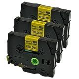 Logic-Seek 3 Schriftbänder kompatibel für Brother TZES631 P-Touch 1000 1010 1080 1090 1200 1200P 1230PC 1250 1280 1290 1750 1800 1850 200 220 2400 2450 2460 2470 2480, 12mm/8m - Schwarz auf Gelb
