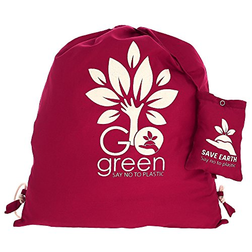 Multiuso Save the Earth coulisse Top zaino Vino - amichevole riutilizzabile di Eco Borsa in cotone Shopping