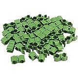 COM-FOUR® 40x Multifunktionsclips Ø 10mm für Pflanzstäbe, Pflanzenklammern in grün