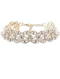 JuanYa Damen Klassike Elegante Strass Kristall Kragen Choker Halsketten Vintage Halsschmuck für Hochzeit, Gold