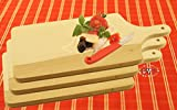 3 Large Picnic Breakfast Boards Square Approx. 42 cm x 20 cm Tray, Dishwasher Safe, Natural Wood Chopping Board, Beech Wood