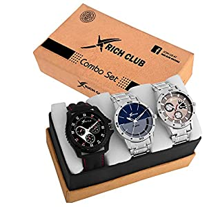Rich Club Quartz Movement Analogue Display Multicoloured Dial Men's Watch(ARMBLK~27GREY~27SMILY) – Pack of 3