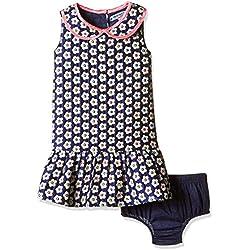 Nauti Nati Baby Girls' Dress (NSS16-127_Ecru and Navy_6-12 Months)