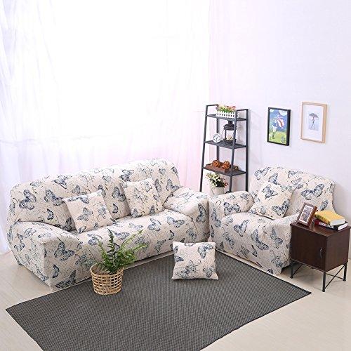 Sofabezug Sofaüberwurf Stretch weich elastisch sofahussen in Verschiedenen Größen und Farben (C: 3 Sitzer, Schmetterling)