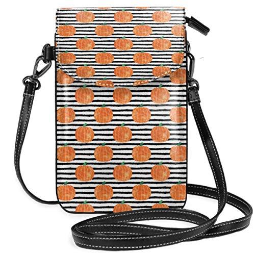 Suminla-Home Kleine Handtasche für Handy, Umhängetasche, mit abnehmbarem Gurt, Wasserfarben und Kürbis-Streifen -