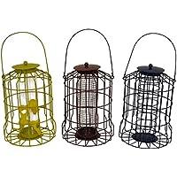 Set de 3 comederos para pájaros a prueba de ardillas (para semillas, frutos secos y bolas de grasa)