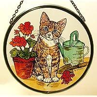 Decorativa pintada a mano Vidriera ventana Sun Catcher/Pop Art products en un gato y geranios diseño