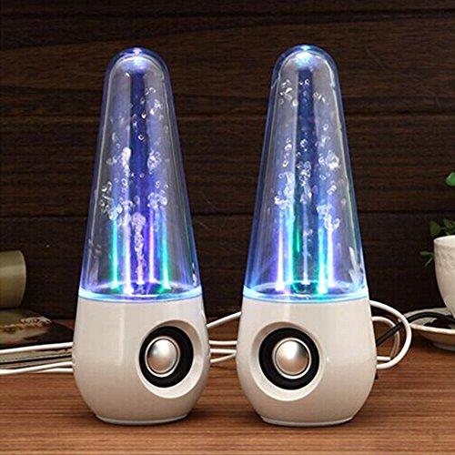 TimeCollect Ballando Altoparlanti Acqua LED Show fontana di musica luce bianca per computer portatili PC Phone