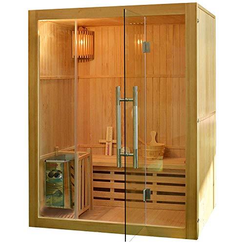 Elbe traditionelle Saunakabine, finnische Sauna aus Hemlockholz - Innensauna mit Havia Saunaofen 3500W komplette Glasfront bis zu 3 Personen