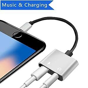 Lightning a 3.5mm per cuffie + caricatore caricabatteria per iPhone x/8/8Plus/7/7Plus/6/6Plus, iPod/iPad 2in 1Lightning a connettore 3.5mm AUX jack per cuffie audio adattatore sdoppiatore auricolare accessori, lightning AUX convertitore doppio femmina adattatore audio per iPhone 8/8PLUS, supporta iOS 10.3o iOS 11(argento)